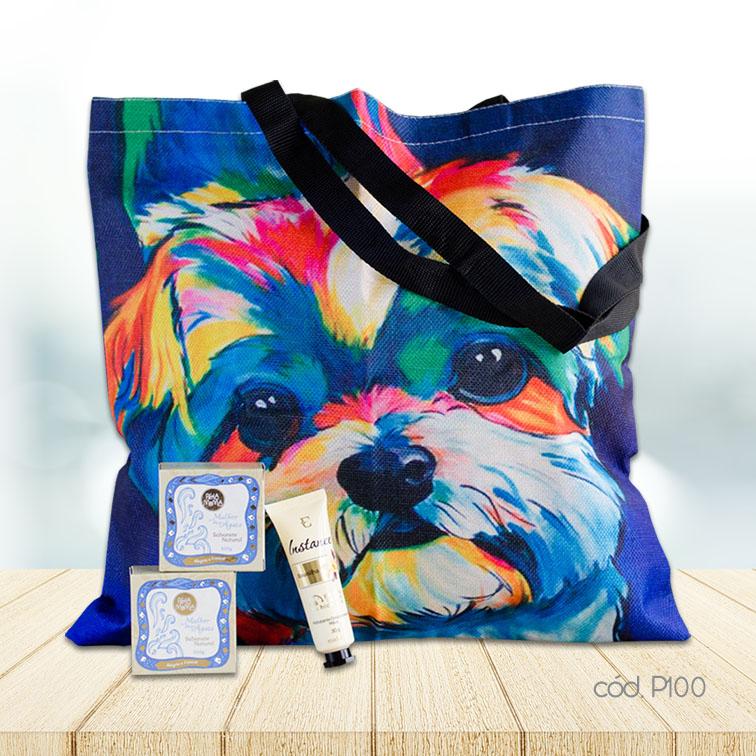 Kit Sacola Cachorro Colorido com Hidratante para as Mãos e Sabonetes