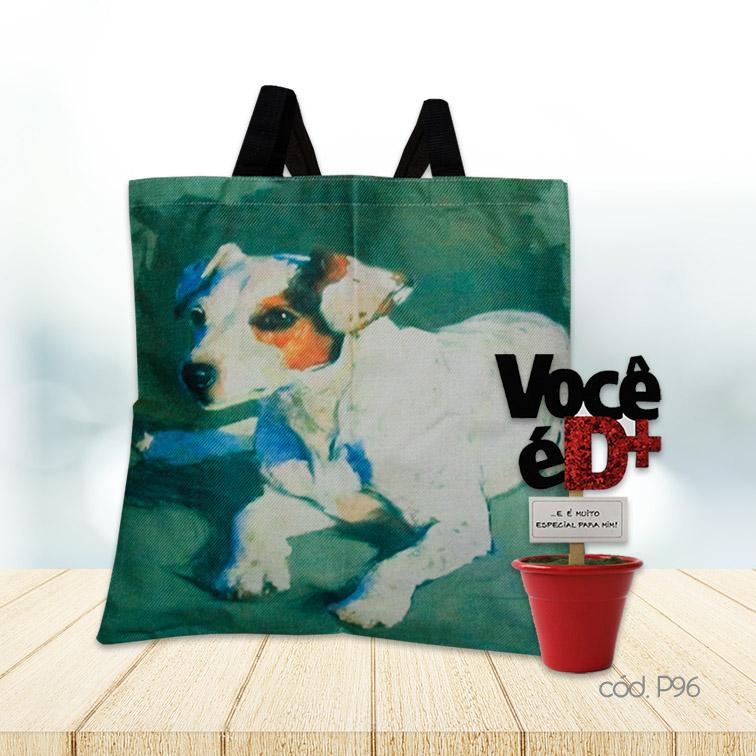 Kit Sacola Cachorro e Mini Vaso Decorativo