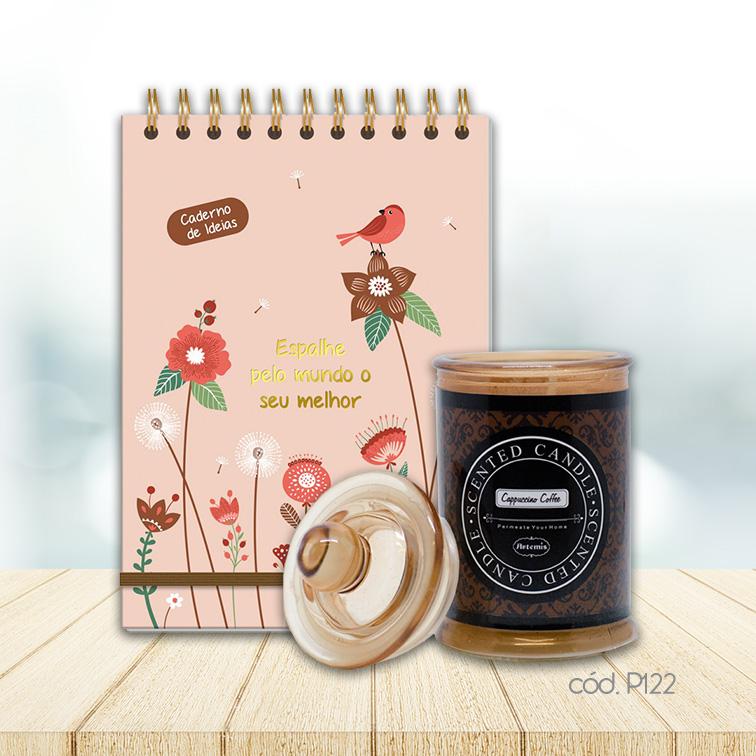 Kit Vela Perfumada com Caderno de Ideias Jardim