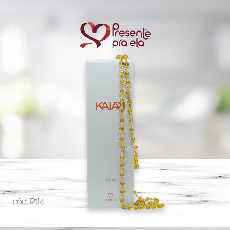 Kit Perfume Kaiak e Colar Cristais Amarelos Artesanal