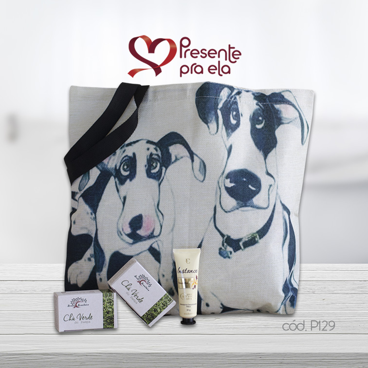 Kit Sacola Cachorros com Hidratante para as Mãos e Sabonetes em Barra Chá Verde