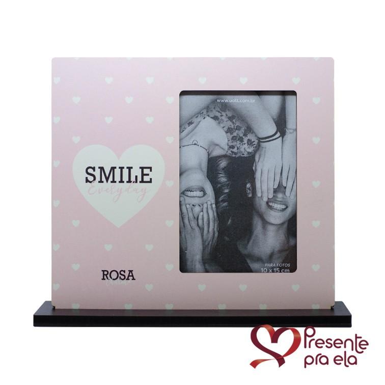 Kit Porta Retrato Smile Rosa Charme e Pulseira Folheada Círculo