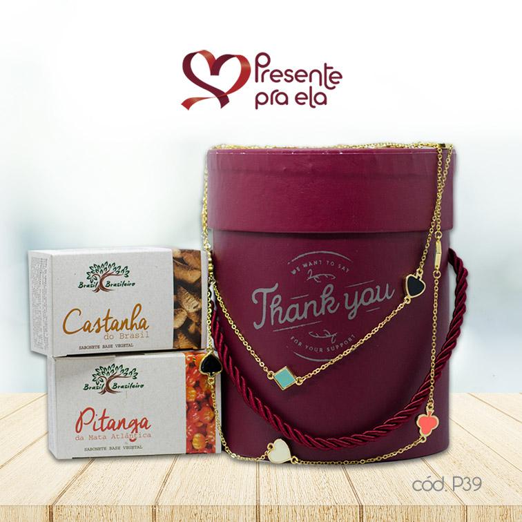 Kit Caixa Cachepô Decorativa Thank You com Colar Cartas Artesanal e Sabonetes