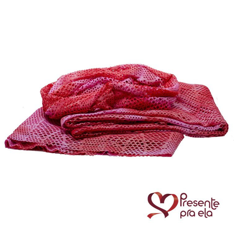 Kit Canga Artesanal Arrastão Rosa e Vermelho com Faixa de Cabelo e Colar de Pedras Artesanal