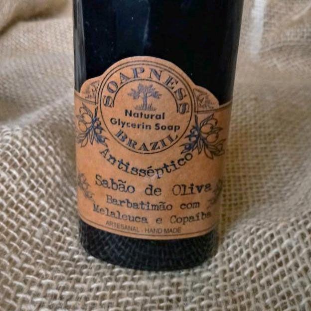 Sabão Natural Líquido de Oliva com Barbatimão, Melaleuca e Copaíba