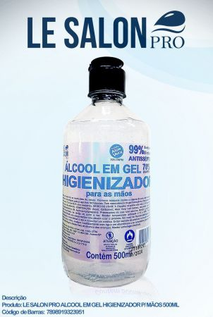 ALCOOL EM GEL 70%  HIGIENIZADOR 500ML LE SALON PRO