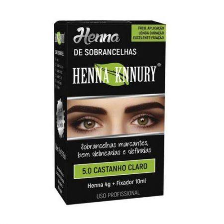 Henna para sobrancelhas Knnury  4G - Castanho Claro 5.0 + Fixador 10ML
