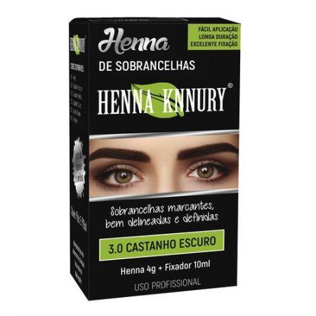 Henna para sobrancelhas Knnury  4G - Castanho Escuro 3.0 + Fixador 10ML