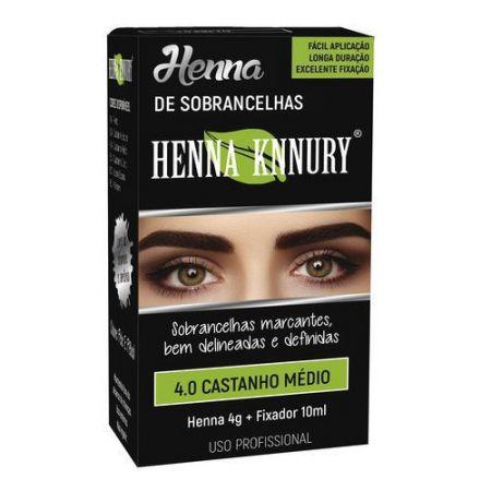 Henna para sobrancelhas Knnury  4G - Castanho Médio 4.0 + Fixador 10ML