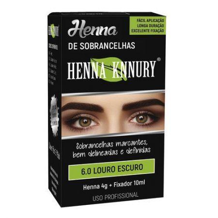 Henna para sobrancelhas Knnury  4G - Louro Escuro 6.0 + Fixador 10ML