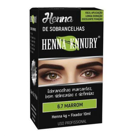 Henna para sobrancelhas Knnury  4G - Marrom 6.7 + Fixador 10ML
