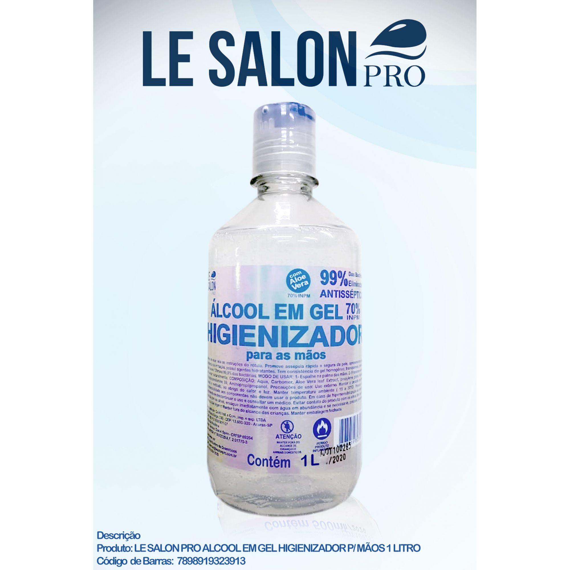 ALCOOL EM GEL 70%  HIGIENIZADOR 1000ML LE SALON