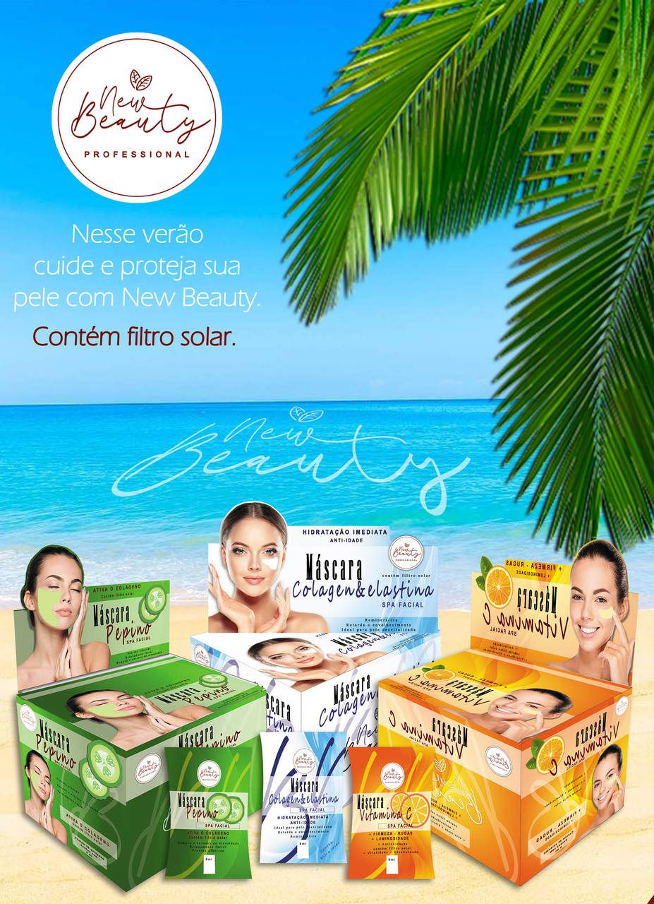 MÁSCARA PEPINO SPA FACIAL NEW BEAUTY - KIT C/ 50 UNIDADES