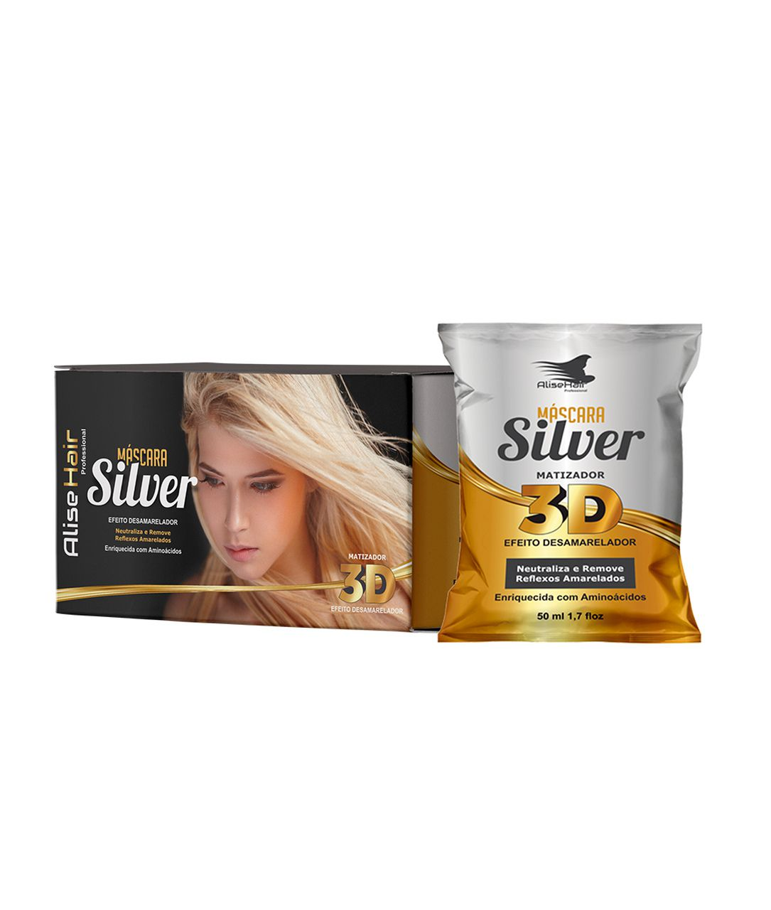 MÁSCARA SILVER ALISE HAIR 50ML - KIT C/ 24 UNIDADES