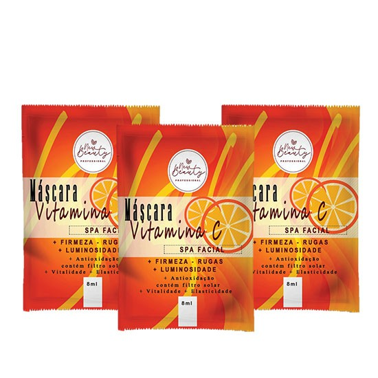 MÁSCARA VITAMINA C SPA FACIAL NEW BEAUTY - KIT C/ 3 UNIDADES