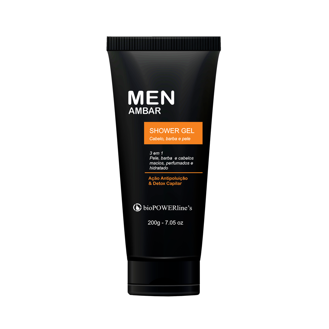 Men Ambar Shower gel 3 em 1 - 200g Pele, cabelo e barba