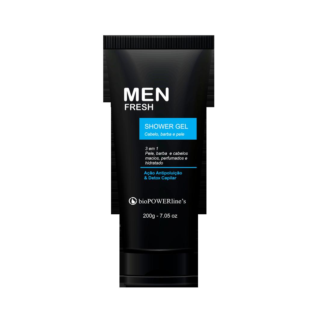 Men Fresh Shower gel 3 em 1 - 200g Pele, cabelo e barba