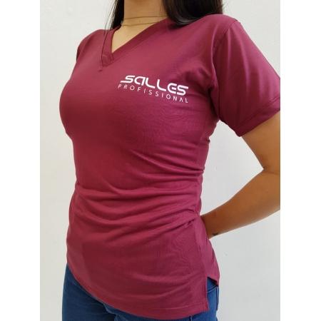 Camiseta Baby Look Vinho Salles Profissional