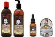 Kit Barbearia Shampoo Barba e Cabelo + Shaving Gel + Pomada Modeladora Classic + Óleo de Barba