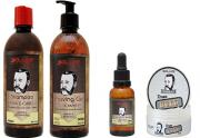 Kit Barbearia Shampoo Barba e Cabelo + Shaving Gel + Pomada Modeladora + Óleo de Barba