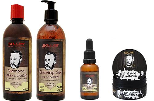 Kit Barbearia Shampoo Barba e Cabelo + Shaving Gel + Pomada Modeladora Black + Óleo de Barba