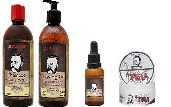 Kit Barbearia Shampoo Barba e Cabelo + Shaving Gel + Pomada Modeladora Teia + Óleo de Barba