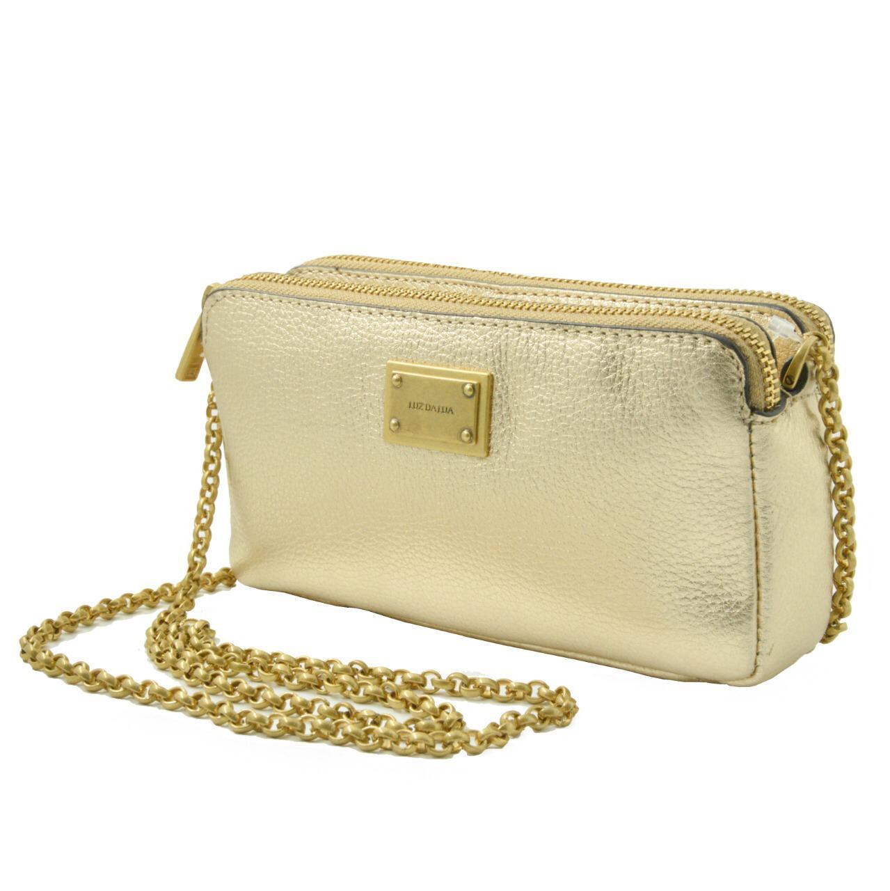 Bolsa lateral dourada