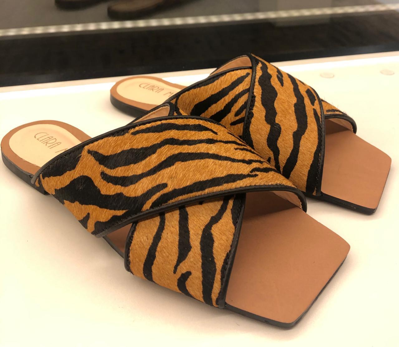 Rasteira Couro - Tigre/Leopardo
