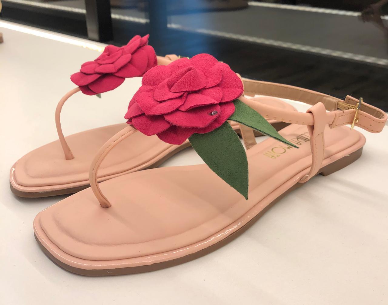 Rasteira  flor pink