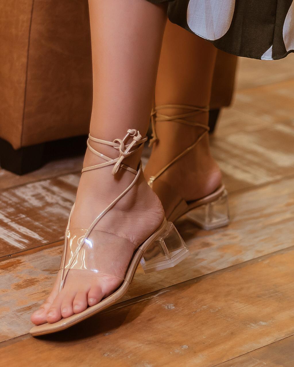 Sandália cristal salto baixo