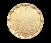 Bandeja Dourada Redonda de Metal 25cm