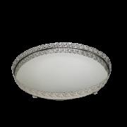 Bandeja Prata Oval Espelhada de Metal 23x17cm