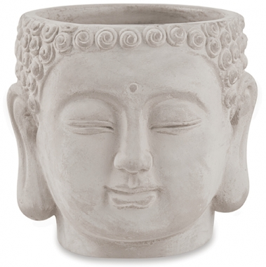 Cachepot Buda Cinza de Ceramica 15cm