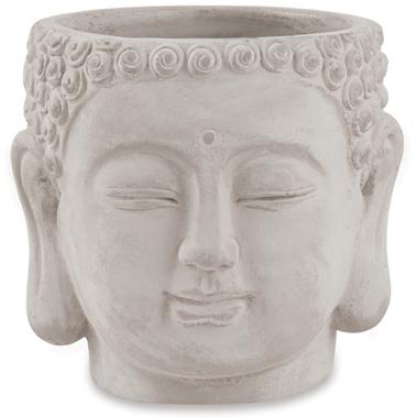 Cachepot Cabeça de Buda Cinza 10cm
