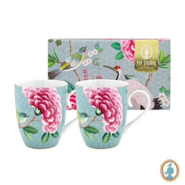 Jg 02 Canecas Azul 350ml - Blushing Birds - Pip Studio