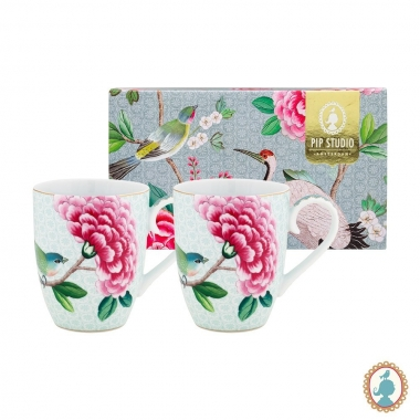Jg 02 Canecas Branca 350ml - Blushing Birds - Pip Studio