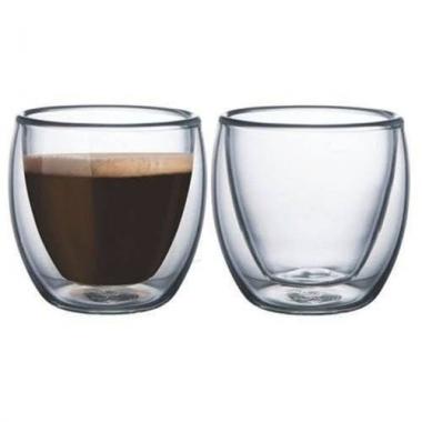 Jg 02 Copos p/ Café Parede Dupla de Vidro 80ml