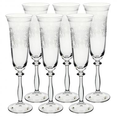 Jg 06 Taças para Champagne Pantografada de Cristal 190ml