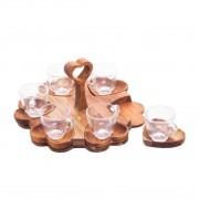 Jg 06 Xícaras de Café com Pires de Madeira em Formato de Coração 65ml
