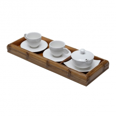 Jogo de bandeja, xícaras e açucareiro Bambu