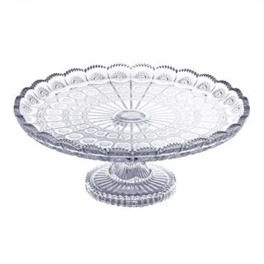Prato para Bolo Versailles com Pé Transparente de Cristal 13x33cm