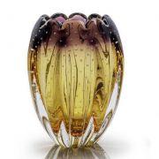 Vaso de Murano Lilas com Ambar 21cm