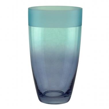 Vaso de Vidro Degrade Azul e Lilas  29cm