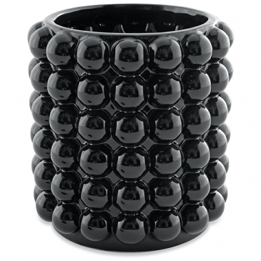 Vaso Preto Bolas de Ceramica 16cm