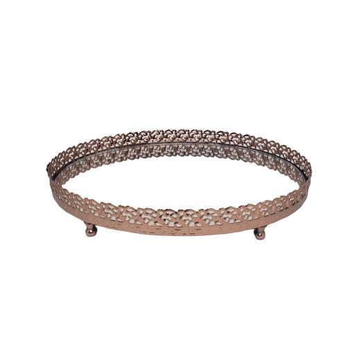 Bandeja Cobre Oval Espelhada de Metal 23x17cm