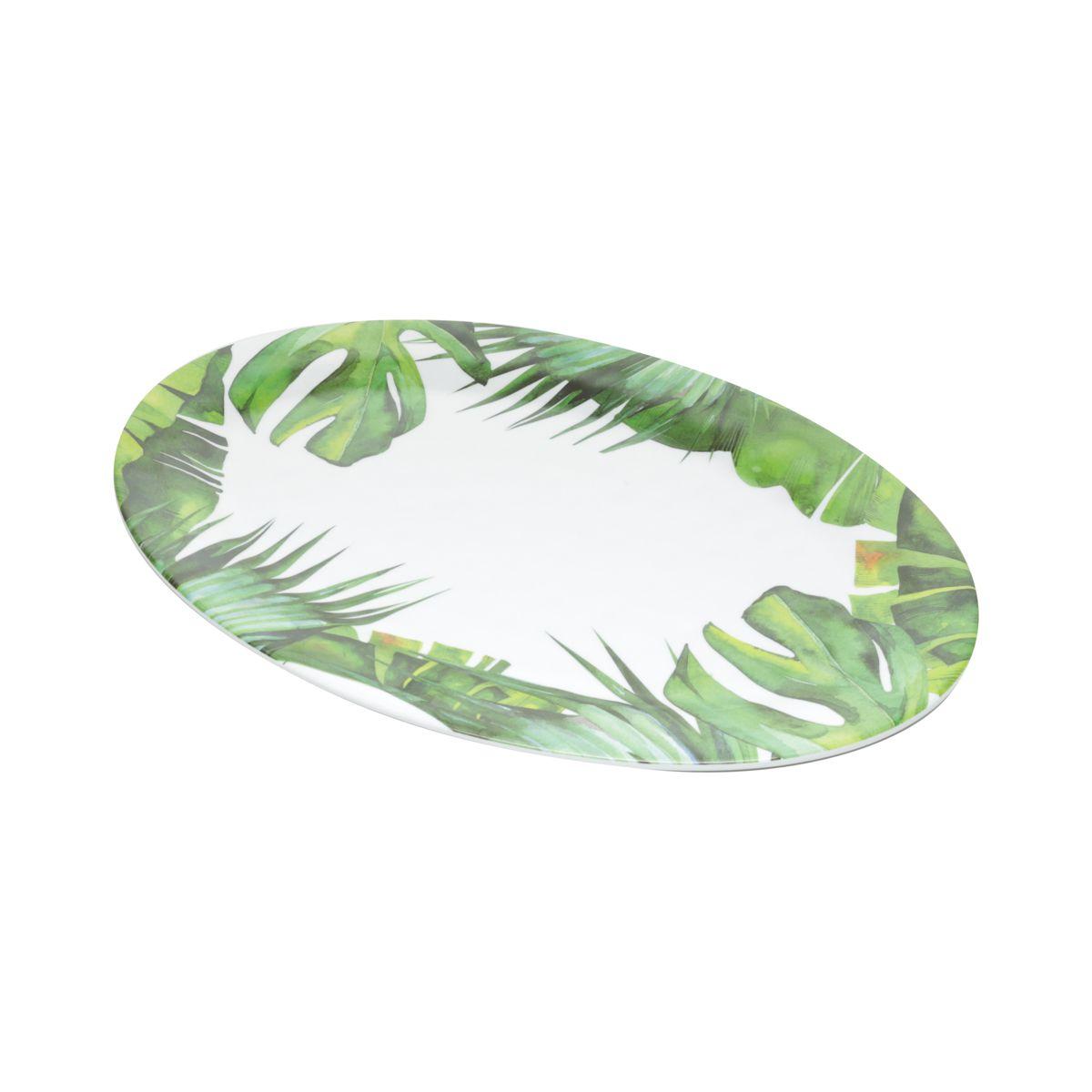 Travessa Oval Folhas de Melamina 51cm