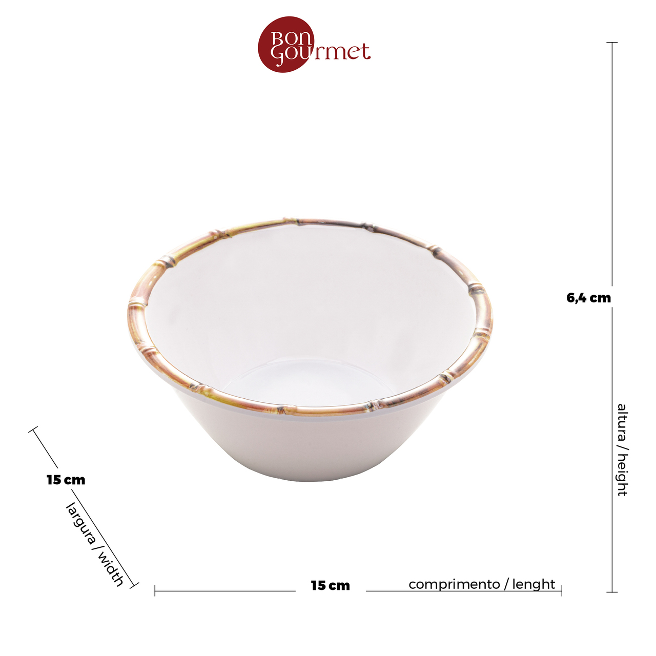 Bowl Bambu Branco em Melamina 06cm
