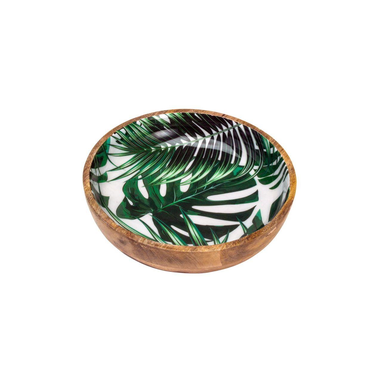 Bowl de Madeira Folhagem 20cm