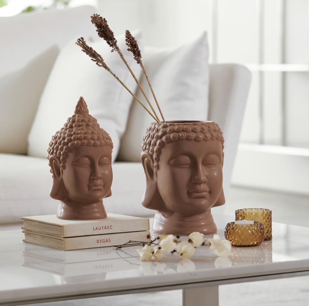 Cachepot Buda Terracota em Ceramica 21cm