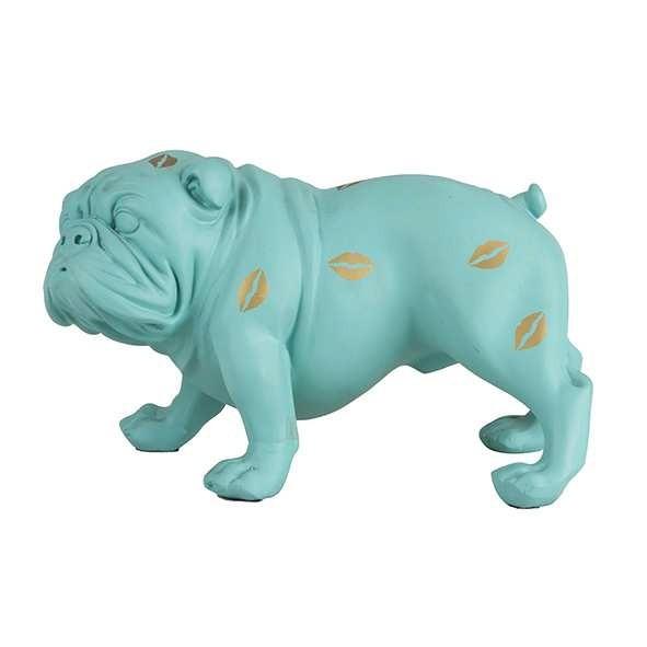 Escultura Bulldog verde com Beijos Dourado
